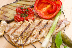 Vegetables with grilled salmon Stock Photography