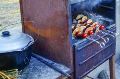Vegetables and grilled shashlik royalty free stock photography
