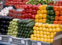Vegetables on the grocery market. Multicolored particulars vegetables on the grocery market. Multicolored and freshness Stock Photography
