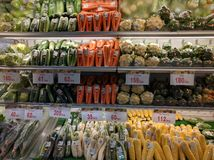 Vegetables in the grocery shelves Royalty Free Stock Photos