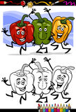 Vegetables group cartoon for coloring book Stock Images