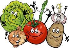 Vegetables group cartoon illustration Royalty Free Stock Photo