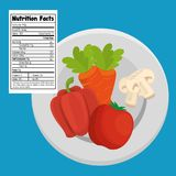 Vegetables group with nutrition facts. Vector illustration design Stock Photo