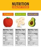 Vegetables group with nutrition facts. Vector illustration design Royalty Free Stock Images