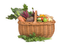 Vegetables in handbasket. Royalty Free Stock Photos