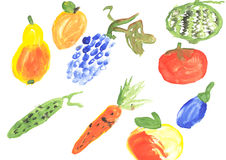 Vegetables handmade watercolor Royalty Free Stock Photos