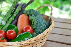 Vegetables harvested in basket Royalty Free Stock Images