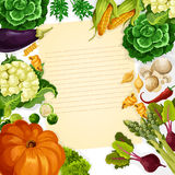 Vegetables havest vector recipe template Stock Photos