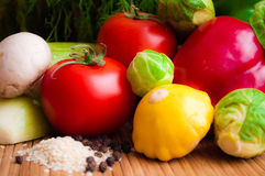 Vegetables for a healthy diet. Tomatoes, Pattison, Brussels sprouts, zucchini, peppers and other vegetables stock photography