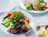 Vegetables healthy food on a white plate Royalty Free Stock Image