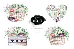 Free Vegetables Healthy Organic Watercolor Wooden Box And Wicker Basket With Bell Pepper, Leek, Onion And Avocado Vitamin Royalty Free Stock Photography - 166013227
