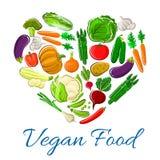 Vegetables heart veggies vegetarian vector poster stock illustration
