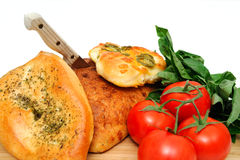 Vegetables Herbs And Bread Stock Photography