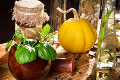 Vegetables, herbs and fresh spices stock photo