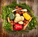 Vegetables and herbs nest arrangement Royalty Free Stock Photo