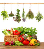 Vegetables and herbs on white background. Healthy food Royalty Free Stock Photography