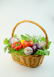 Vegetables and herbs in a wicker basket Royalty Free Stock Images