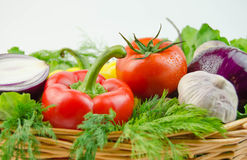 Vegetables and herbs in a wicker basket Royalty Free Stock Image