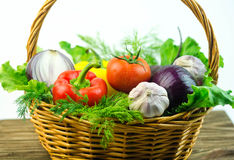 Vegetables and herbs in a wicker basket Stock Image