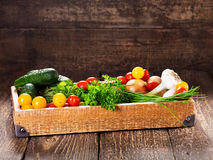 Vegetables and herbs in wooden box Royalty Free Stock Images