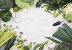 Vegetables hero header image. With copy space in the middle on white background Royalty Free Stock Image