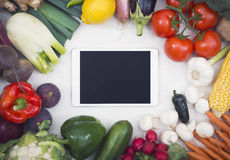 Vegetables hero header image with tablet pc Royalty Free Stock Photo