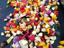 Vegetables on the hob - small pieces Royalty Free Stock Images