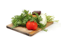 Vegetables on hopping block Royalty Free Stock Images