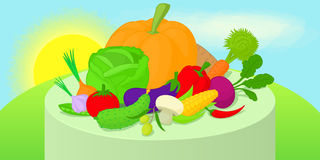 Vegetables horizontal banner, cartoon style. Vegetables horizontal banner concept. Cartoon illustration of vegetables vector horizontal banner for web Royalty Free Stock Photography