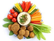 Vegetables and humus. Royalty Free Stock Photography
