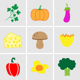Vegetables icon set. Vector EPS10. Royalty Free Stock Photography