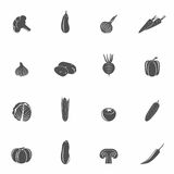 Vegetables icons black set Royalty Free Stock Photography