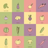 Vegetables icons flat line set Stock Image