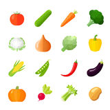 Vegetables Icons Flat Royalty Free Stock Photography