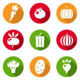 Vegetables icons flat set Stock Photo