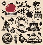 Vegetables icons, labels, signs, symbols, logo layouts and design elements. Set. Fresh farm food logo design elements. Healthy and gmo free organic products Stock Image