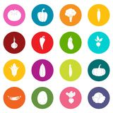 Vegetables icons many colors set Stock Images