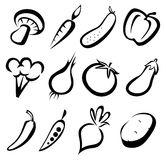 Vegetables icons set Stock Images