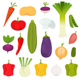 Vegetables Icons Set. Illustration of a set of cartoon spring vegetables, various condiments and ingredients for food recipes Stock Photography