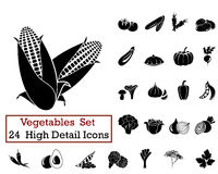 24 Vegetables Icons. Set of 24 Vegetables Icons in Black Color Royalty Free Stock Images