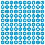 100 vegetables icons set blue. 100 vegetables icons set in blue hexagon isolated vector illustration Royalty Free Stock Photos