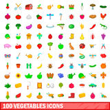 100 vegetables icons set, cartoon style. 100 vegetables icons set in cartoon style for any design vector illustration Stock Image