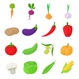 Vegetables icons set, cartoon style Royalty Free Stock Photography