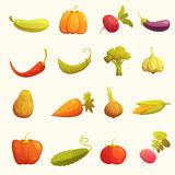 Vegetables Icons set Flat Retro Royalty Free Stock Image