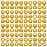 100 vegetables icons set gold. 100 vegetables icons set in gold circle isolated on white vector illustration Royalty Free Illustration