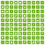 100 vegetables icons set grunge green Stock Image