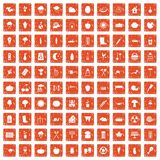 100 vegetables icons set grunge orange. 100 vegetables icons set in grunge style orange color on white background vector illustration vector illustration