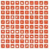 100 vegetables icons set grunge orange. 100 vegetables icons set in grunge style orange color  on white background vector illustration Stock Photos