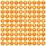 100 vegetables icons set orange. 100 vegetables icons set in orange circle isolated on white vector illustration stock illustration