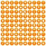 100 vegetables icons set orange. 100 vegetables icons set in orange circle isolated on white vector illustration Royalty Free Stock Photos